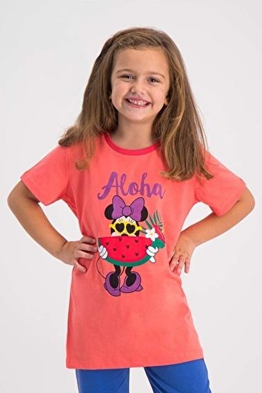Mickey Mouse Mickey & Minnie Mouse Lisanslı Pembe Kız Çocuk T-Shirt Oranj